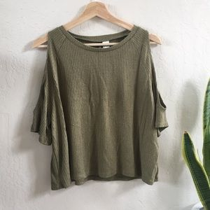 Cold shoulder moss green blouse